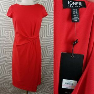 New Jones New York Size 10 Dress Faux Wrap Tuck